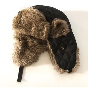 Black Quilted Fur Hat
